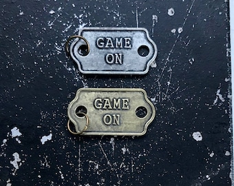 Game On Charm, DIY Parts for Necklace Making, Lead and NIckel Free Jewelry Findings, 2 Word Tag for Jewelry Assemblage,