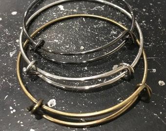Adjustable DIY Charm Bracelet, Charm Bracelet, Bracelet For Charms, Bronze Bangle Bracelet, Silver Bangle Bracelet, Gunmetal Bangle Bracelet