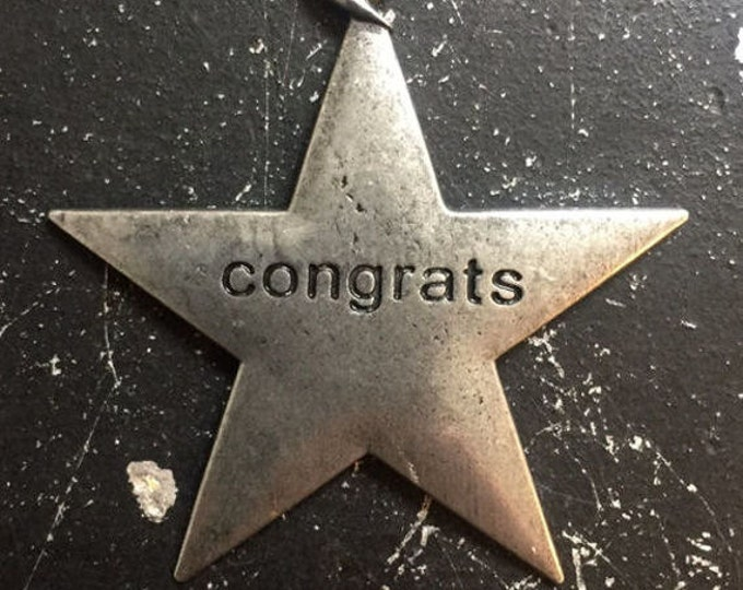 Metal Star, Congrats Metal Tag, Gunmetal Charms For Steampunk Necklace, DIY Jewelry Parts, Gunmetal Word Charms,  Industrial Tags
