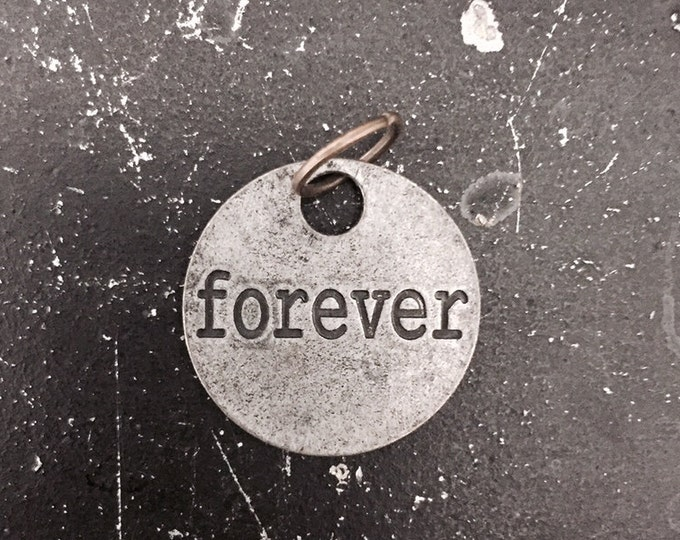 Forever Charm, for DIY Jewelry Design, Metal Forever Tag, Lead Free Jewelry Findings for necklace making, Industrial, Vintage style