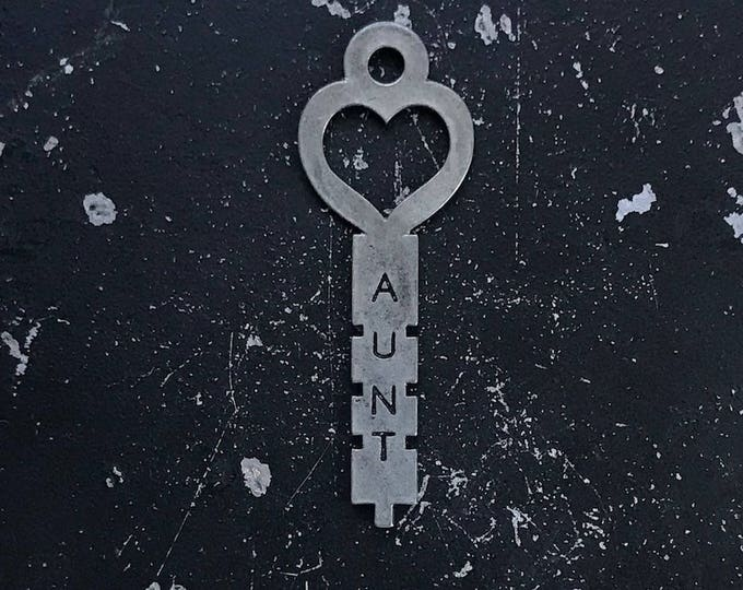 Heart Key, Aunt Charm,  Gift For Aunt, Industrial Metal Key for DIY Necklace Assemblage, Lead and NIckel Free Jewelry, Gunmetal Finding