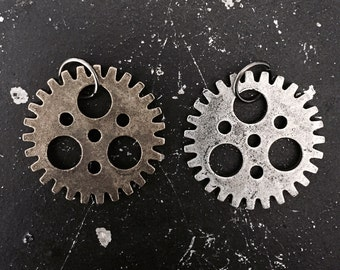 Gear Charm #1 Industrial Steampunk Gear, Parts for DIY Necklace Making, Lead and NIckel Free Metal Gear, Parts for Altered Art Assemblage