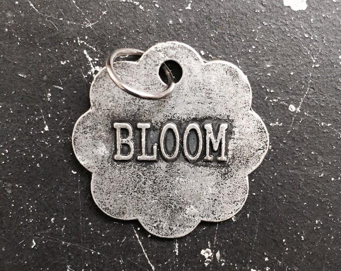 Bloom Charm, Industrial Metal Tag For Necklace, Parts for Steampunk Necklace, Jewelry Findings, DIY Necklace Parts, Flower Charm With Words
