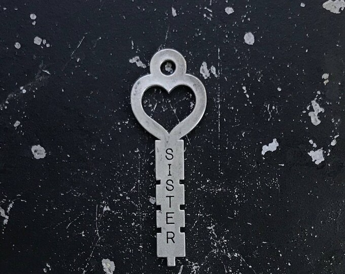 Sister Charm, Heart Key, Keys For Jewelry Making, Keys With Words, Sister Key For Charm Necklace, Steampunk Jewelry, Industrial Parts
