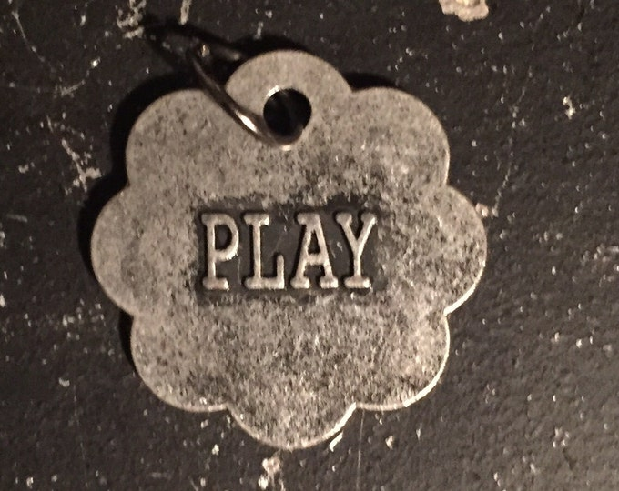 Play Charm, Jewelry Parts for DIY Necklace Making, Industrial Metal Word Tag, Steampunk Jewelry Findings, Lead and Nickel Free Charm,