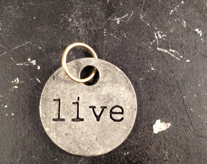 Live Charm, Metal Word Tag For DIY Necklace Making, Industrial Steampunk Jewelry Findings, Lead and Nickel Free Word Charm for Necklace