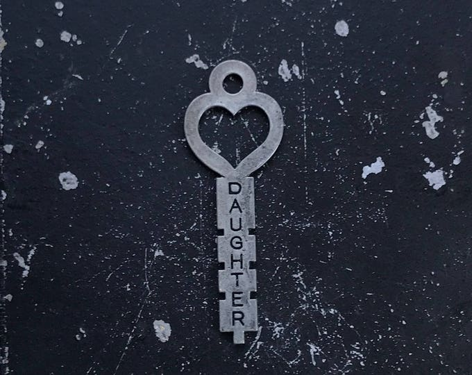 Heart Key, Gift for Daughter, DIY Key Charm for Jewelry Making, Industrial Metal Charm, Gunmetal Jewelry Finding, Lead and Nickel Free