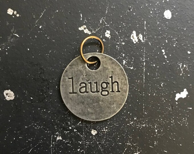 Laugh Metal Tag with Words For DIY Necklace and Bracelet Making, Dream Word Charm, Steampunk Necklace, Industrial Gunmetal Jewelry Findings
