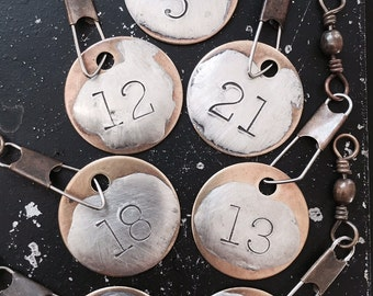 Number Charms for DIY Necklace Making or Key Chain, Handmade Hand Stamped Metal Tag with Numbers of your choice, Lead and NIckel Free Brass