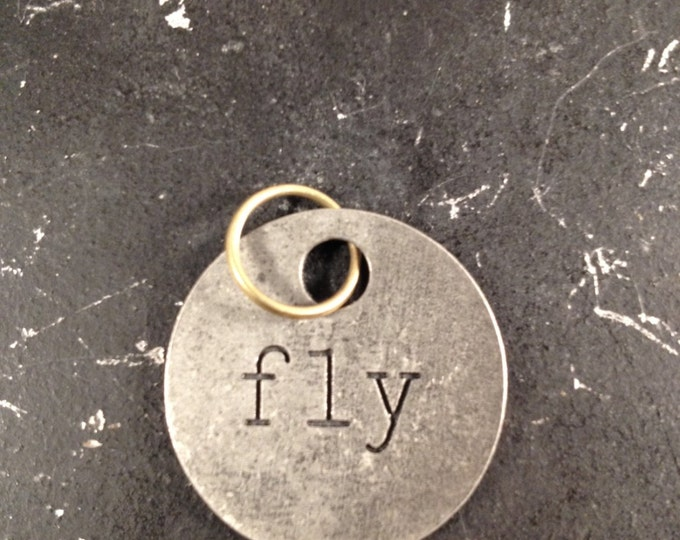 Fly Charm, DIY Jewelry Parts for Assemblage Necklace, Industrial, Gunmetal Lead and NIckel Free Charms, Metal Word Tag, Jewelry Findings