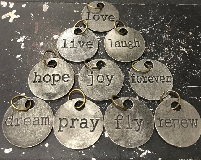 Jewelry Bar Word Charms, Lot Of (10) Charms With Words, Word Charms For Jewelry Making, Wholesale Metal Tags With Words, Necklace Charms