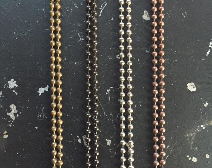 36 Inch Ball Chain Necklace, 2.4 mm Ball Chain, Silver Ball Chain, Gunmetal Ball Chain, Bronze Ball Chain, Copper Ball Chain