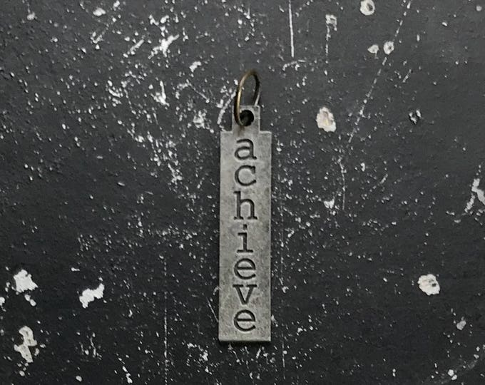 Achieve Charm, DIY Jewelry Parts For Necklace Assemblage, Lead and Nickel Free Metal Tag With Words, Industrial Charms, Industrial Tags,