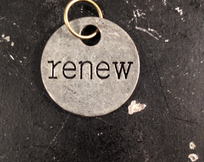 Renew Metal Tag with Words, Industrial Jewelry Charm for DIY Necklace Making, Bracelet Making or Keychain, Nickel Free Gunmetal Charm