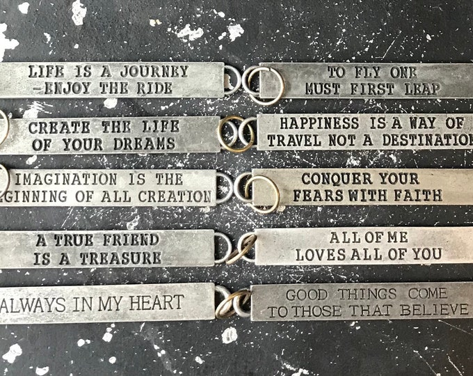 DIY Charms, 10 Truism Tags, Charms With Inspirational Sayings, Word Charms For Necklace, Party Favors, Wholesale Charms For Jewelry Bar