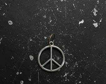 Peace Charm, Metal Peace Tag For DIY Necklace Assemblage, Silver Jewelry Findings, Industrial Charms for Necklace, Lead and Nickel Free Tags