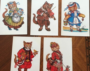 Five 1987  Cat Postcards Original Illustration by Evelyn Gathings Made in the USA
