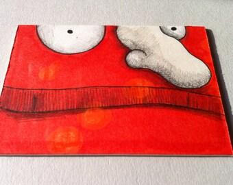 Orange monster original art card