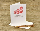 There is money - spend it, spend it,  spend more - letterpress card - Shakespeare quote