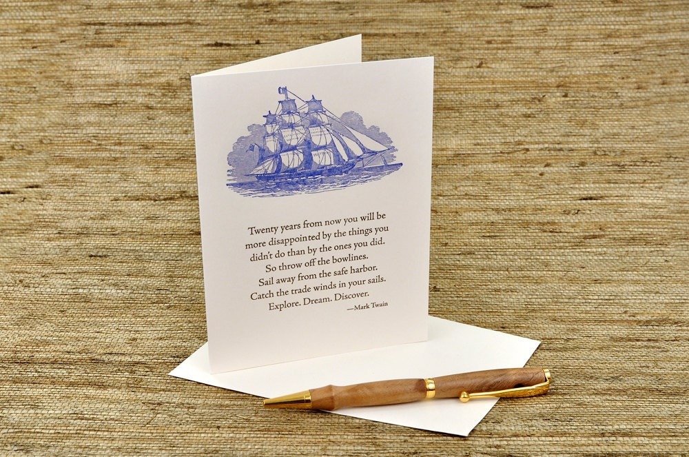 Mark Twain Quote Letterpress Card Adventure And New Etsy