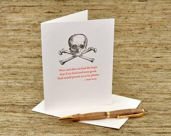 Pirate card - Mark Twain quote - letterpress