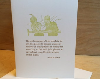 The real marriage of true minds is for any two people... - Edith Wharton quote - letterpress card