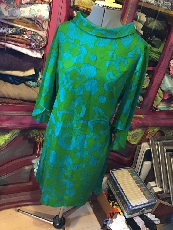 1960's Mod dress in green and teal