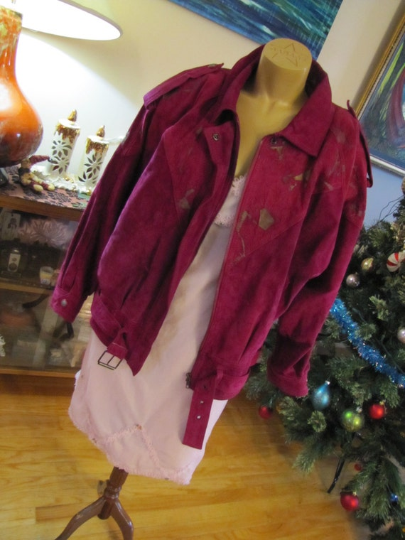 1980's pink leather jacket