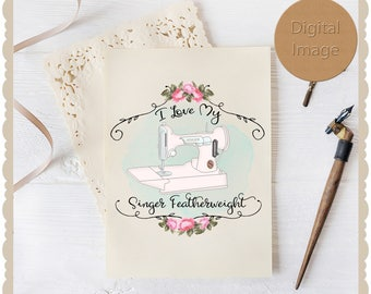 Pretty pre-made logo Graphic with a Singer Featherweight theme