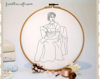 Jane Austen Hand Embroidery Pattern pdf INSTANT DOWNLOAD