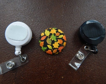 Fabric Covered Button for Clip on Retractable Badge Reel - Fall Leaves