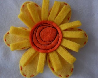 Wool Felt Flower Brooch - Yellow and Orange