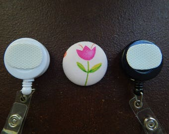 Fabric Covered Button for Clip on Retractable Badge Reel - Tulip Flower