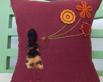 Hand Embroidered Crimson Linen Pillow, Cushion, Girl Holding Flower Balloons