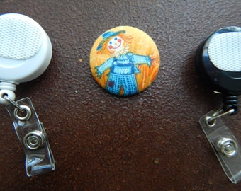 Fabric Covered Button for Clip on Retractable Badge Reel - Scarecrow