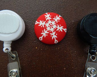 Snowflake Fabric Covered Button for Clip on Retractable Badge Reel