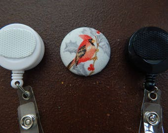 Fabric Covered Button for Clip on Retractable Badge Reel - Bird in Winter