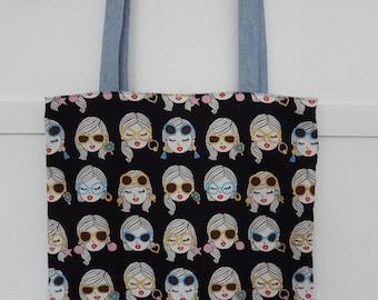 Japanese Cotton Girls with Sunglasses Tote, Market Bag, Shoulder Purse, Reversible Tote, Linen Shoulder Bag, Linen Shoulder Tote