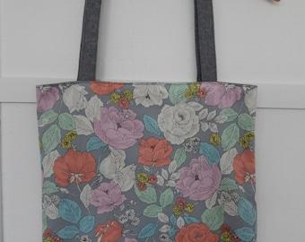 Japanese Cotton Floral Tote, Market Bag, Shoulder Purse, Reversible Tote, Linen Shoulder Bag, Linen Shoulder Tote