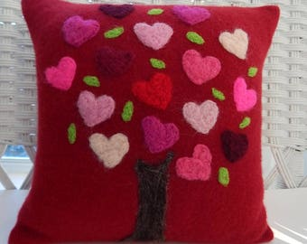 Recycled Cashmere Tree of Love Decorative Needle Felted Pillow in Red