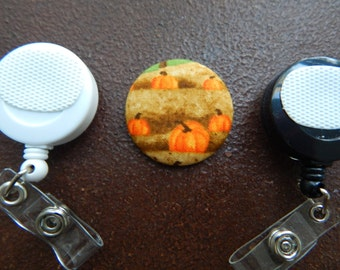 Fabric Covered Button for Clip on Retractable Badge Reel - Pumpkin Patch