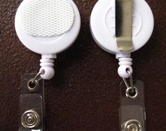 White Retractable Badge Reel Base