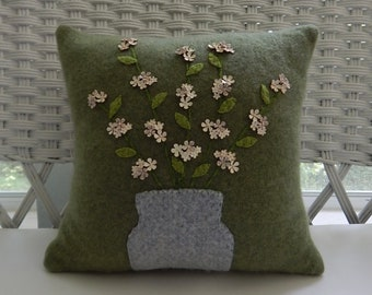 Recycled Cashmere Decorative Flower Pillow in Green - Vase of Flowers