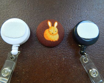 Fabric Covered Button for Clip on Retractable Badge Reel - Bunny