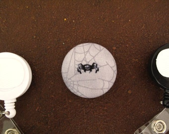 Fabric Covered Button for Clip on Retractable Badge Reel - Spider in web