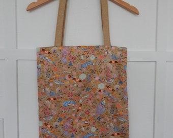 Japanese Cotton Birds and Floral Tote, Market Bag, Shoulder Purse, Reversible Tote, Linen Shoulder Bag, Linen Shoulder Tote