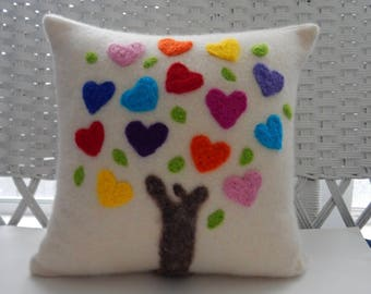 Recycled Cashmere Tree of Love Decorative Needle Felted Pillow in Cream