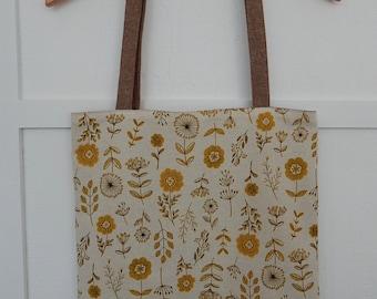 Japanese Cotton and Linen Floral Tote, Market Bag, Shoulder Purse, Reversible Tote, Linen Shoulder Bag, Linen Shoulder Tote