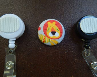 Fabric Covered Button for Clip on Retractable Badge Reel - Lion