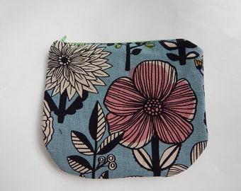 Japanese Cotton and Linen Floral Zipper Pouch, Cosmetics Bag, Toiletry Bag, Travel Bag, Clutch Purse, Handmade